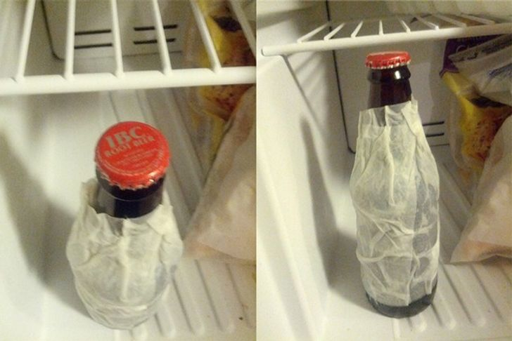 Freeze a drink quickly